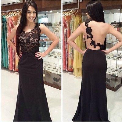 Backless Black Prom Dresses 2015