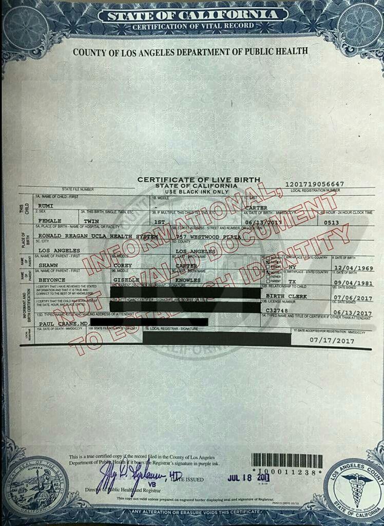 rumi carter birth certificate | rumi carter | Pinterest | Birth ...