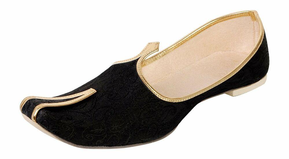 Mojari Indian Handmade Men Shoes Punjabi Khussa Flip-flops Wedding Flat US 6-11