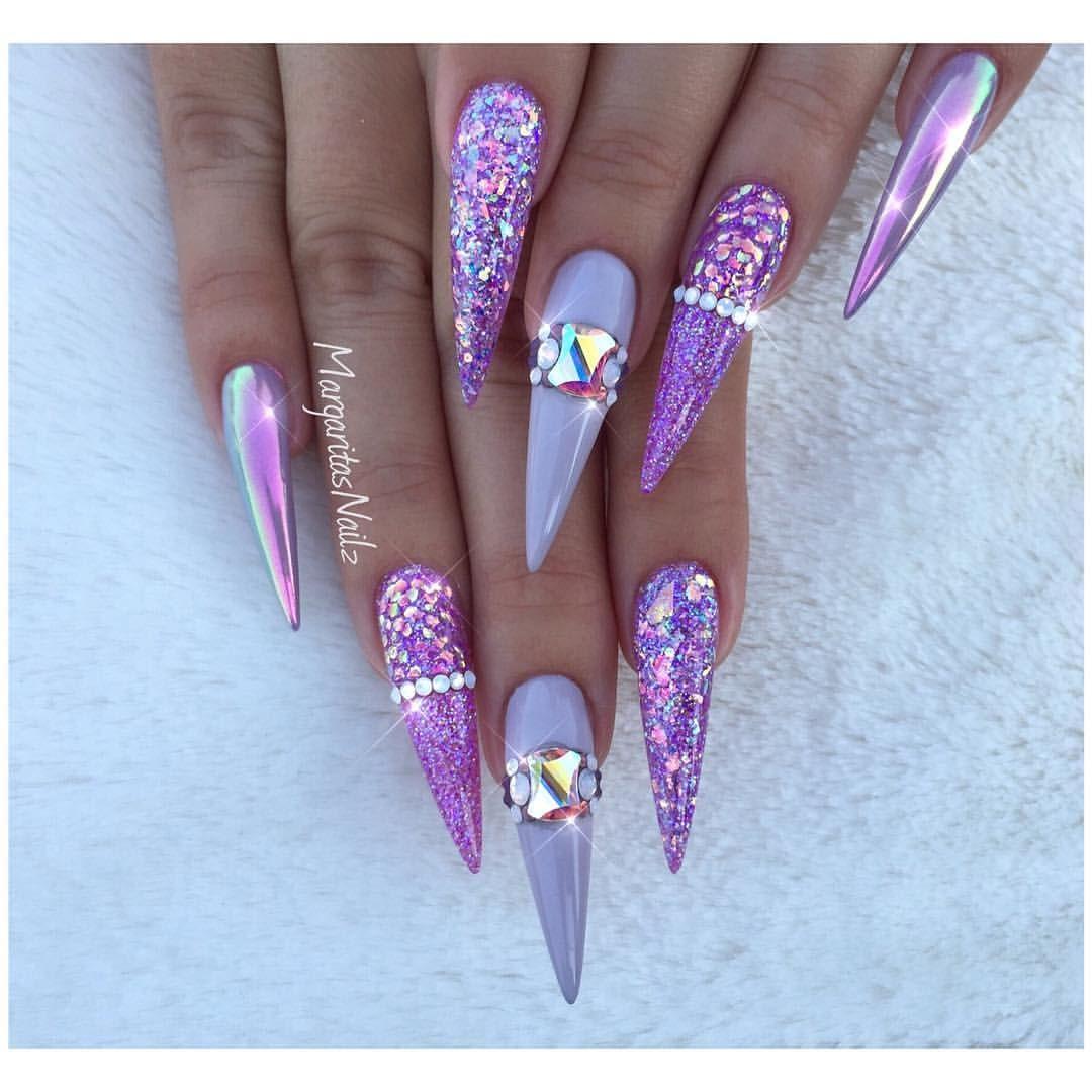 Purple Stiletto Nails Chrome And Glitter Nail Art Design With