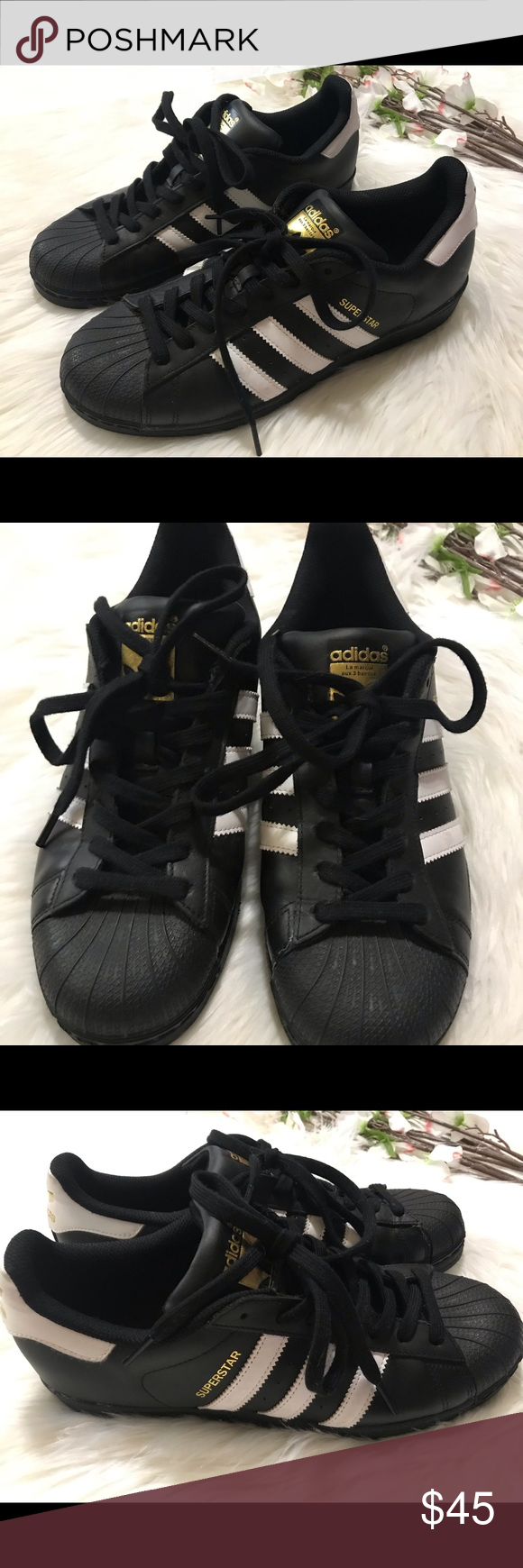 Adidas Superstar Black White Gold Sneakers Gold sneakers