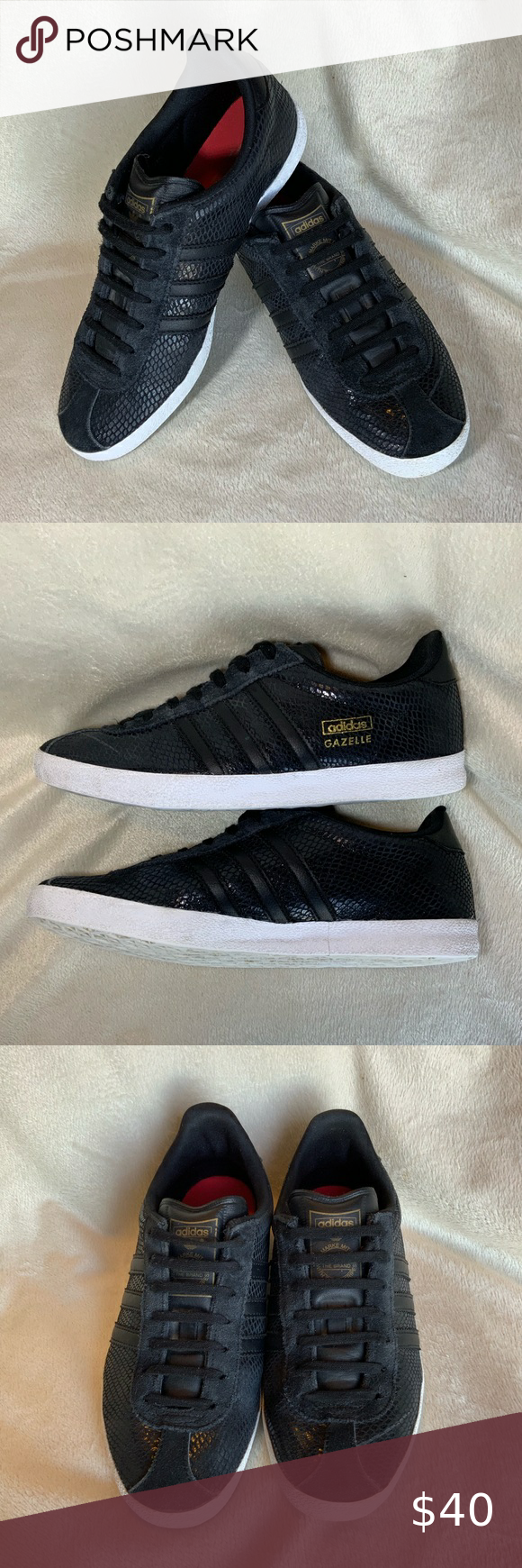 ADIDAS GAZELLE Black Snake Skin Print Shoes | Adidas gazelle black ...