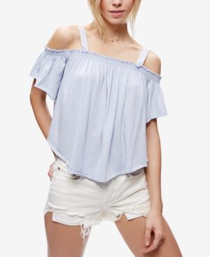 Free People Darling Off-The-Shoulder Top - Blue XS