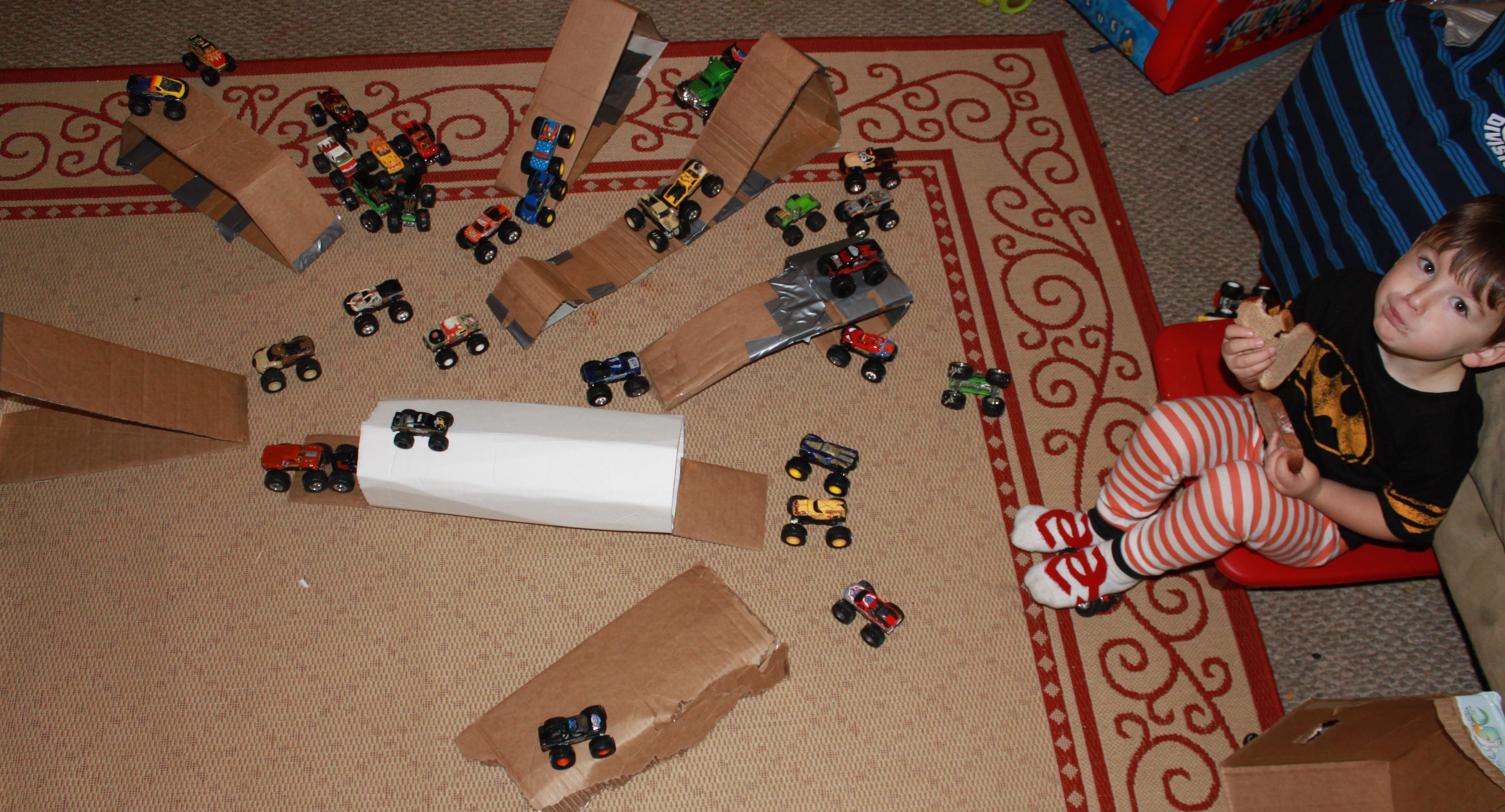 monster truck ramps from cardboard fun with kiddos pinterest