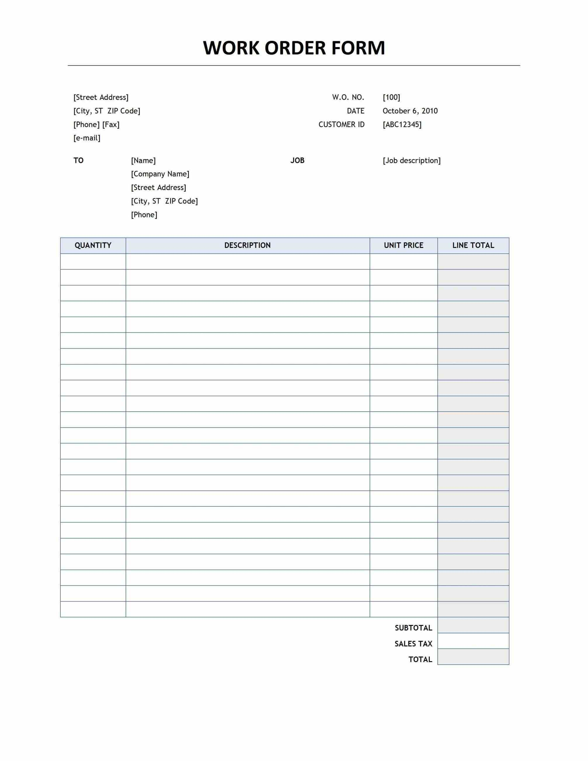 photo relating to Printable Work Order Forms identified as this initiates the obligation of offering information these types of