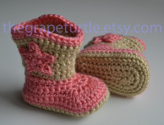 Crochet Baby Cowboy Boots Made To Order You By Thegrapeturtle