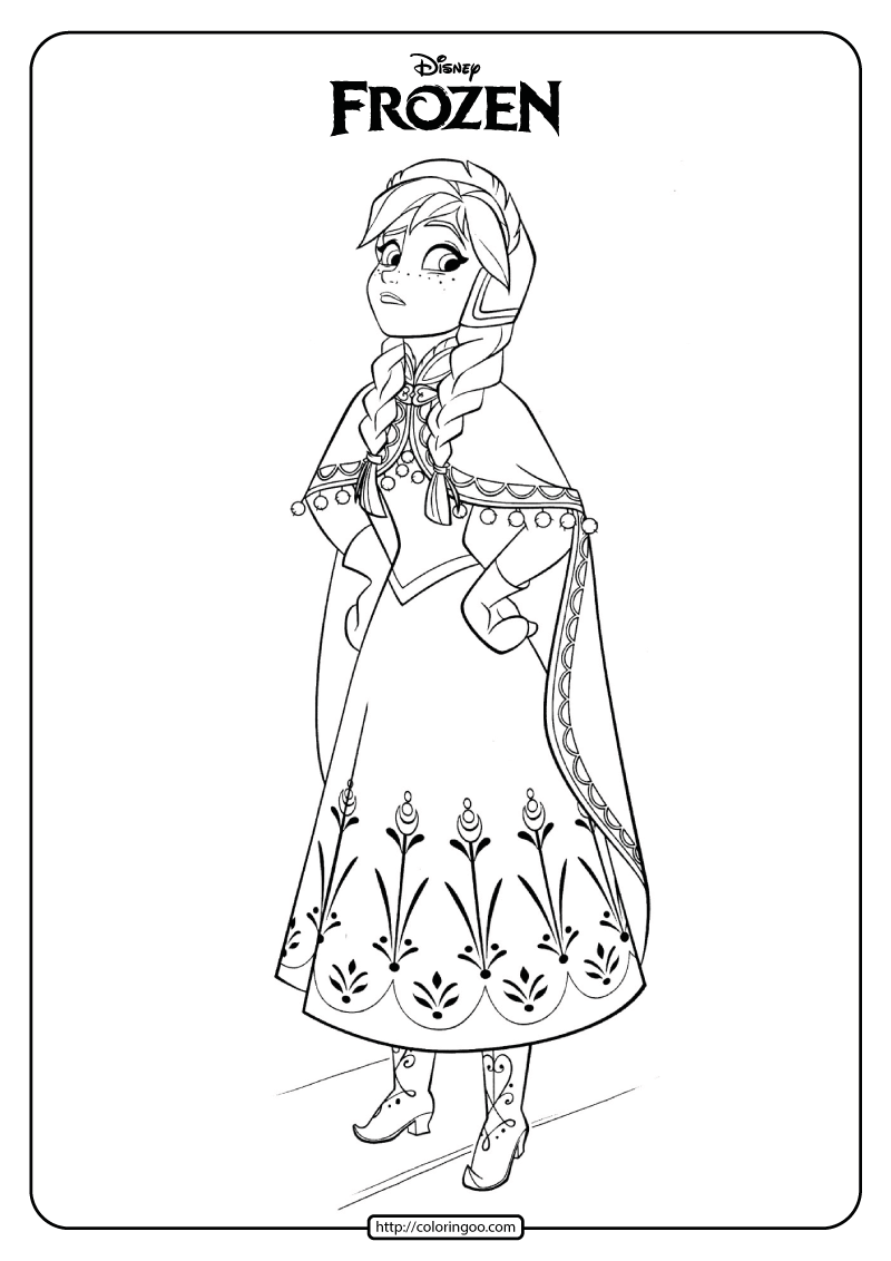 Disney Frozen Anna Coloring Pages Book 04 In 2020 Disney Coloring Pages Frozen Coloring Pages Elsa Coloring Pages