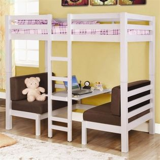 Bunk bed with bench seats and table underneath. Super cute. | Kids
