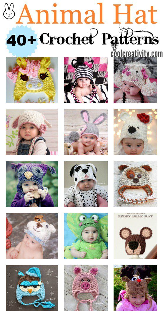 40+ Crochet Animal Hat with Patterns | Pinterest | Sombreros de ...
