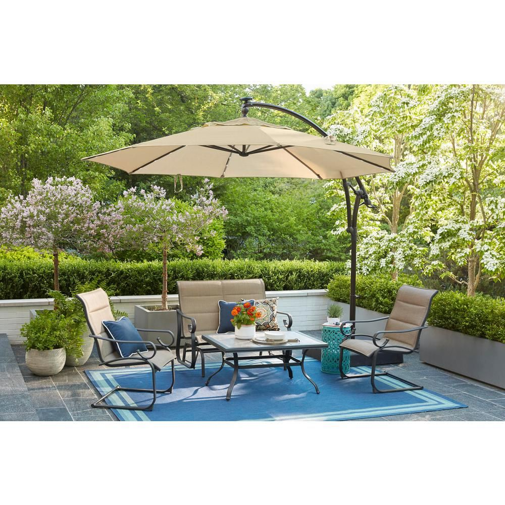 Hampton Bay 11 Ft Aluminum Cantilever Solar Led Offset Outdoor Patio Umbrella In Putty Tan Yjaf052 Pu The Home D In 2020 Outdoor Patio Umbrellas Outdoor Patio Patio