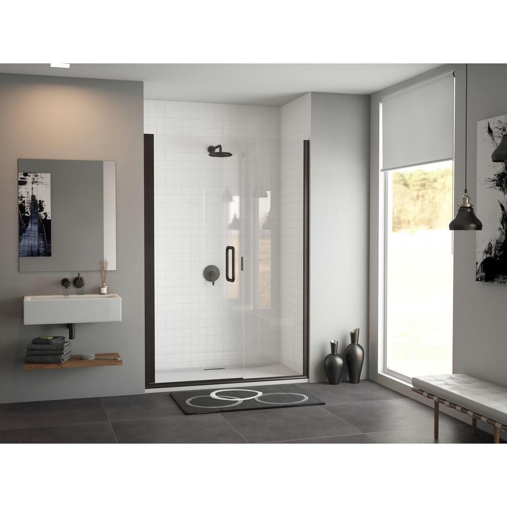 Coastal Shower Doors Illusion 36 In To 37 25 In X 66 In Semi Frameless Hinged Shower Door With C Pull Handle In Black And Clear Glass Coastal Shower Doors Shower Doors Clear Glass