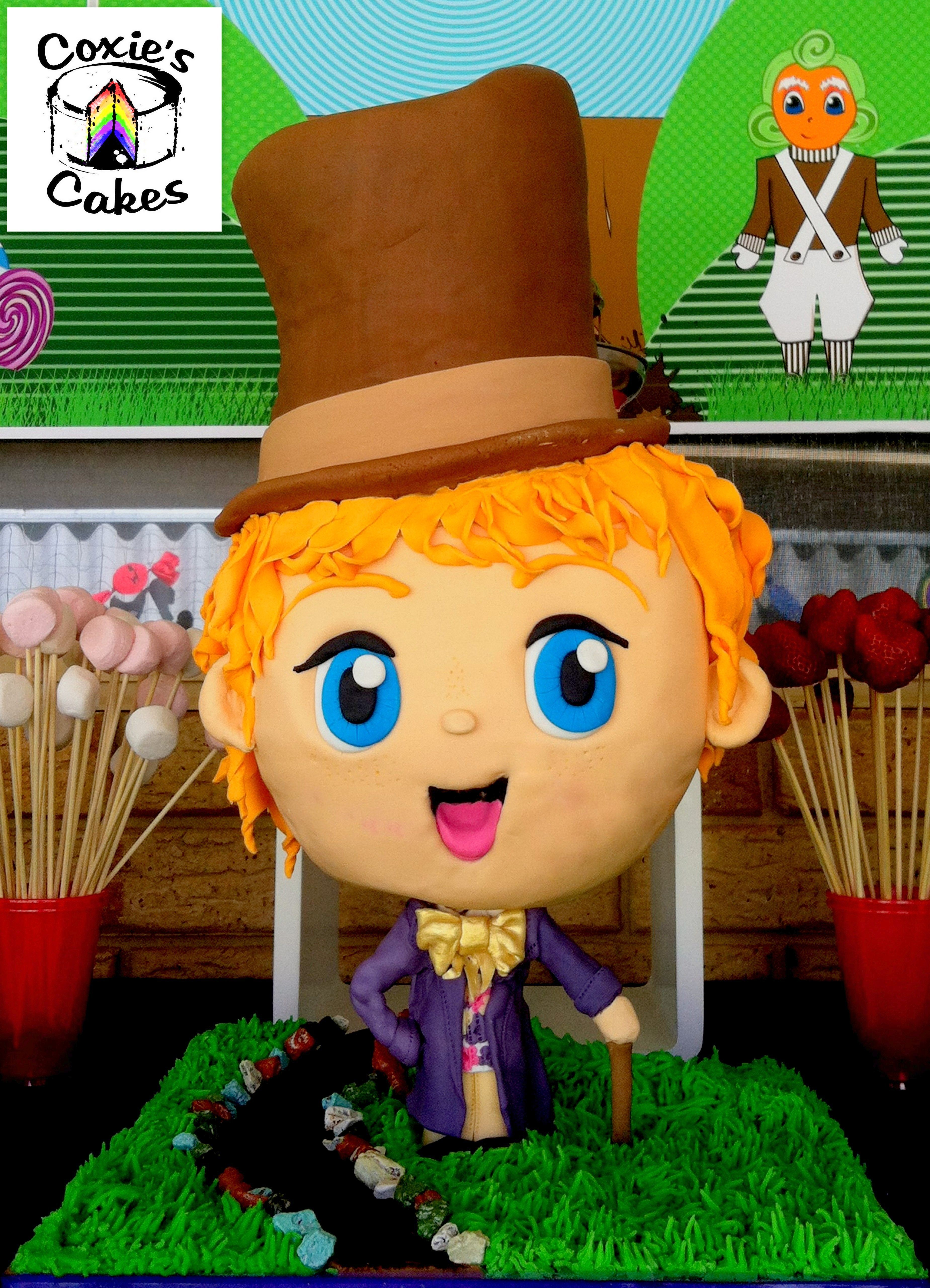Willy Wonka standing Bobblehead Cake. My son's Willy Wonka and the Chocolate Factory party was sooooo fun!