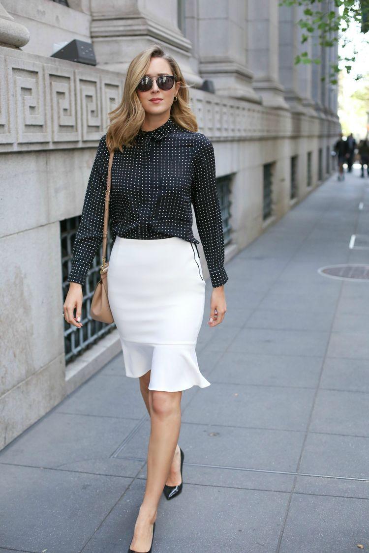 Flounce Hem Pencil Skirt and Polka Dot Blouse