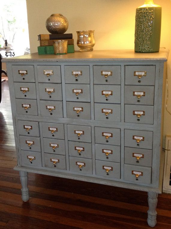 I told my students I wanted an old card catalog cabinet for my house! :) Vintage  Library Card Catalog wine cabinet by cocolagitane on Etsy - My Sister And I Totally Need A Card Catalogue Piece In Our House