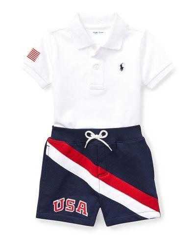 0d86ccf23 Ralph Lauren Childrenswear USA Short-Sleeve Polo w/ Matching Shorts, Size  9-24 Months