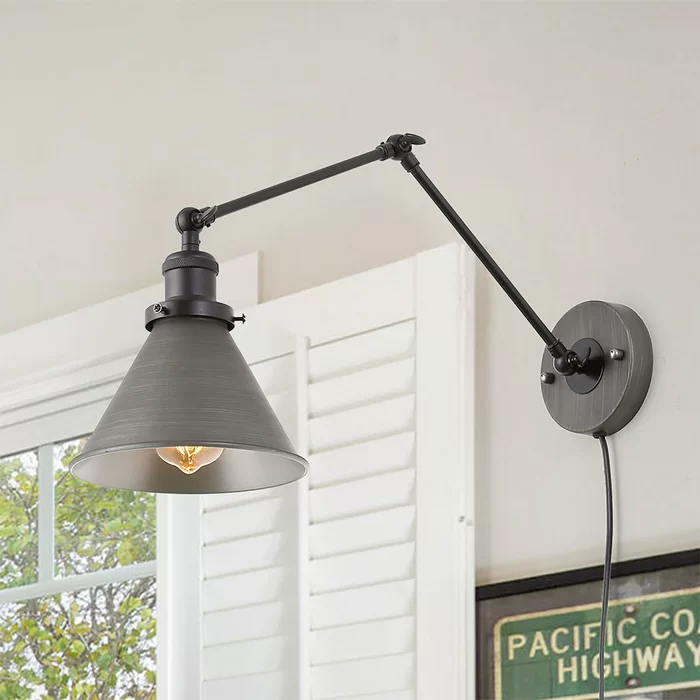 Williston Forge Nathaly 1 Light Dimmable Plug In Gray Swing Arm Wayfair Adjustable Wall Sconce Swing Arm Wall Lamps Wall Lamps Bedroom