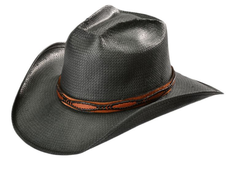 de6d7584437b5 Shady Brady Black Crushable Straw with Brown Suede Leather Band Cowboy Hat  available at  Sheplers