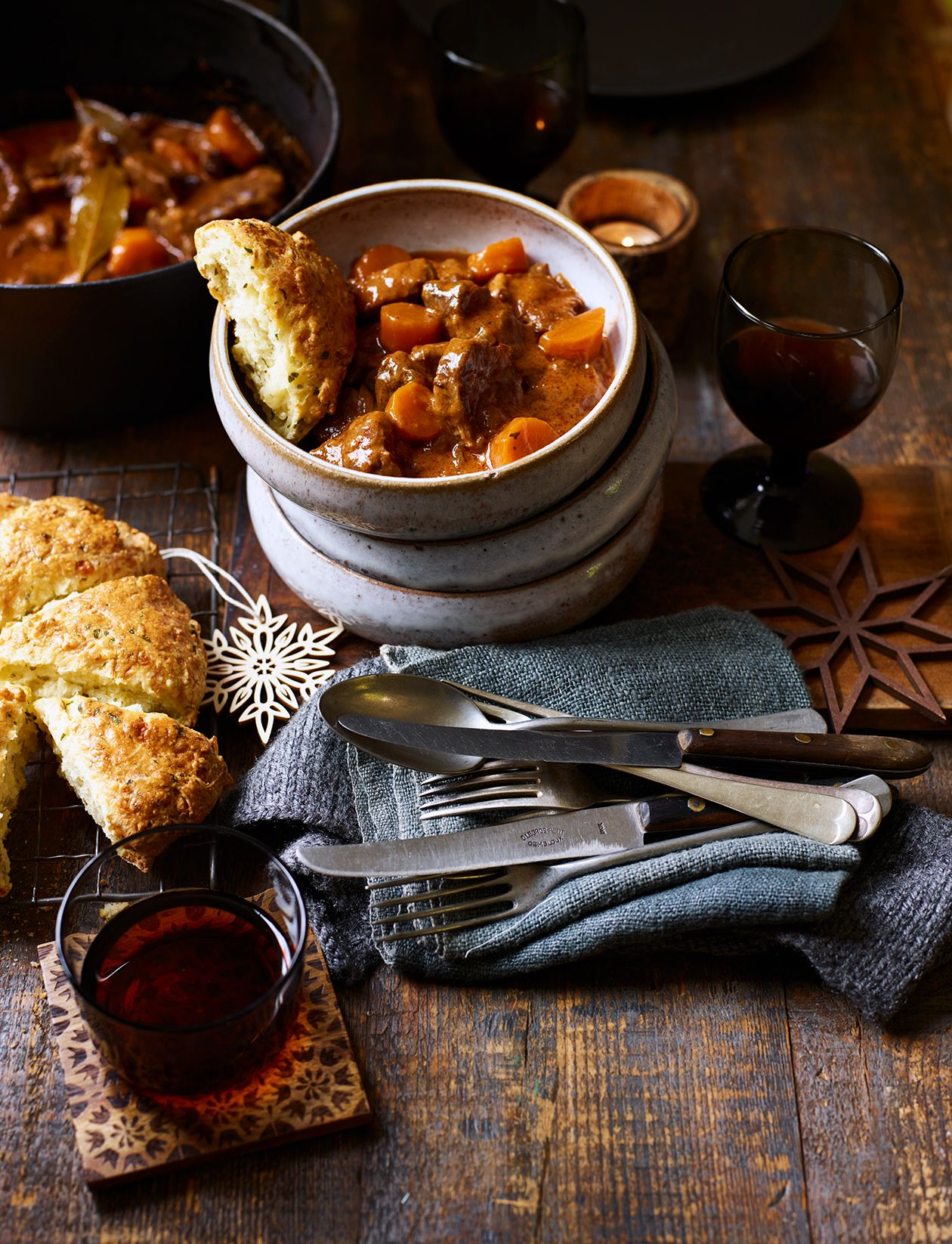 Storecupboard beef stew and cheese biscuits | Recipe ...