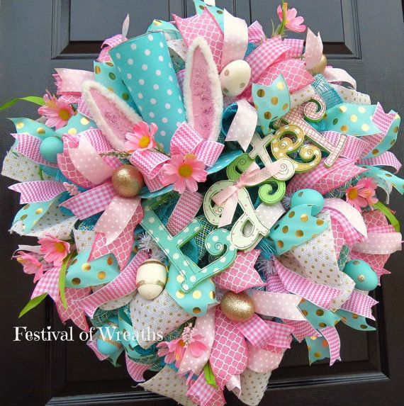 Easter Deco Mesh Wreath - Easter Front Door Wreath - Easter Mesh ...