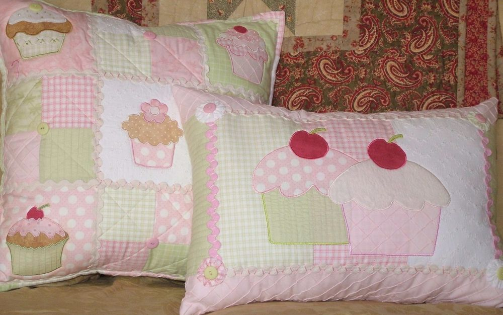 Patchwork / quilting applique cupcake delight cushion sewing pattern ...