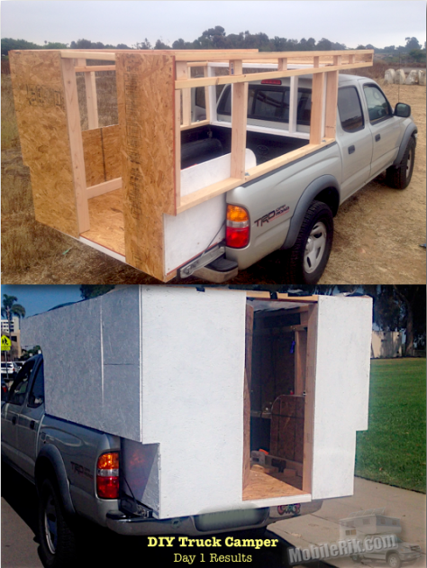 My Homemade DIY Truck Camper Day 1 Results Truck