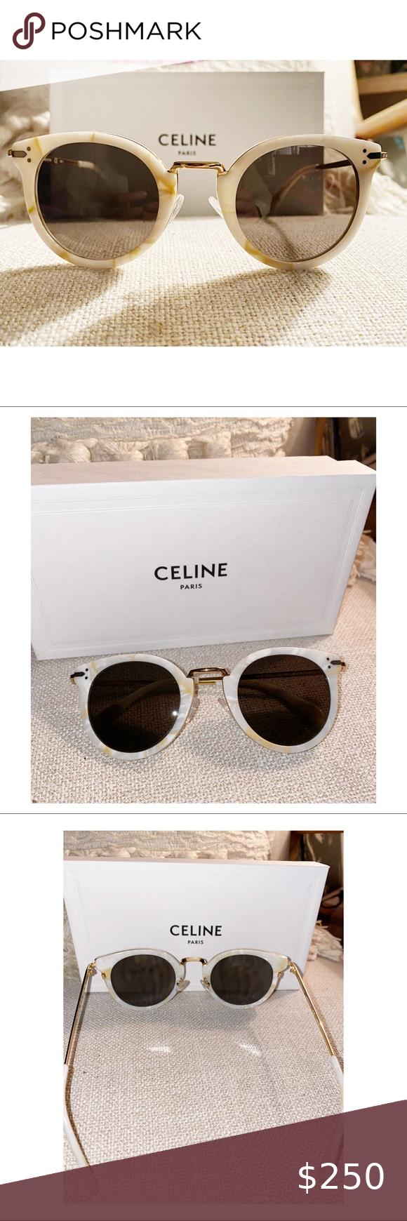Celine white & gold sunglasses