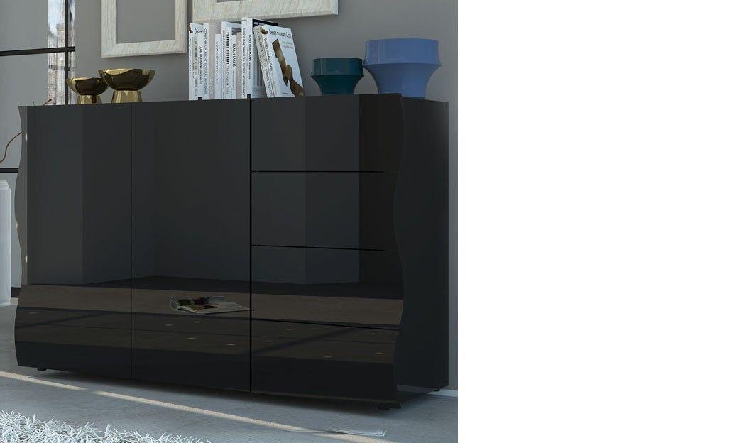 Buffet noir laqué design 2 portes et 4 tiroirs PANGO 3 ...