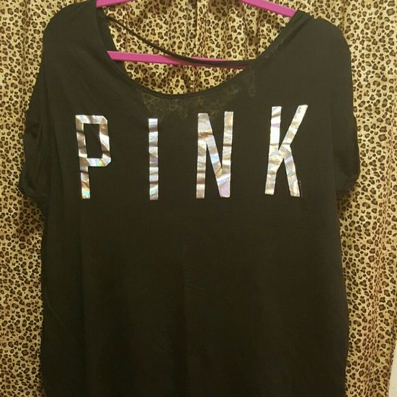 Pink vs tee Pink vs tee with silver foil pink logo across the chest!! Lightweight, great for the gym..with a bralette PINK Victoria's Secret Tops Tees - Short Sleeve