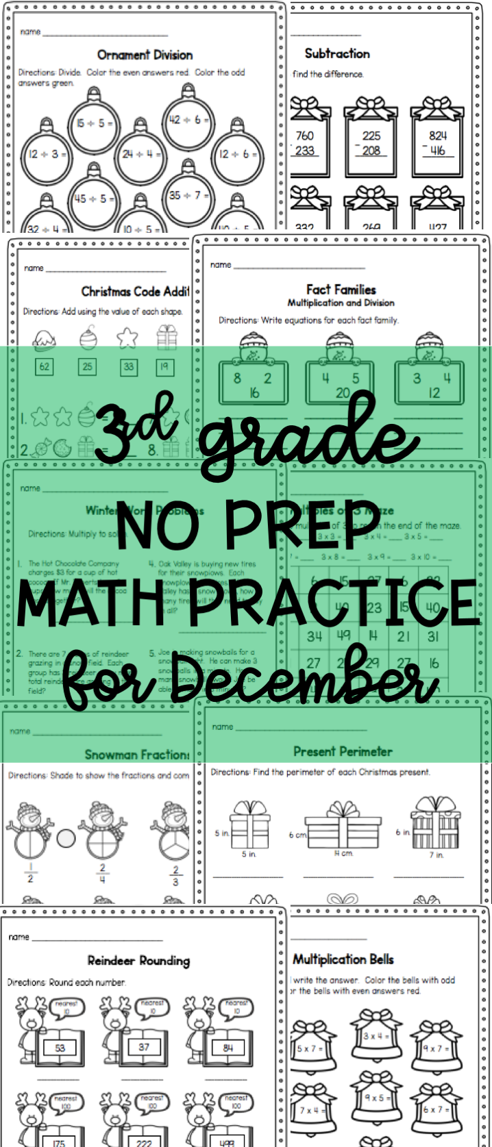 Christmas Worksheets Math Practice Pages For 3rd Graders Math