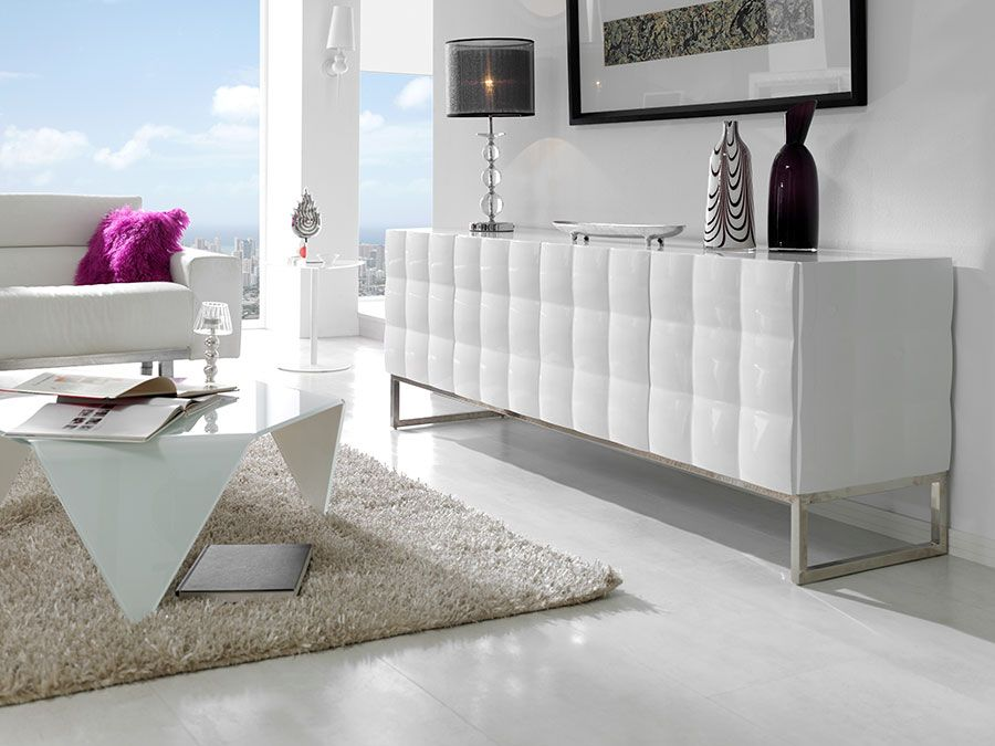 Buffet Bahut Blanc Laque 3 Ou 4 Portes Design Avery With Images Classy Living Room White Sideboard Large Sideboard