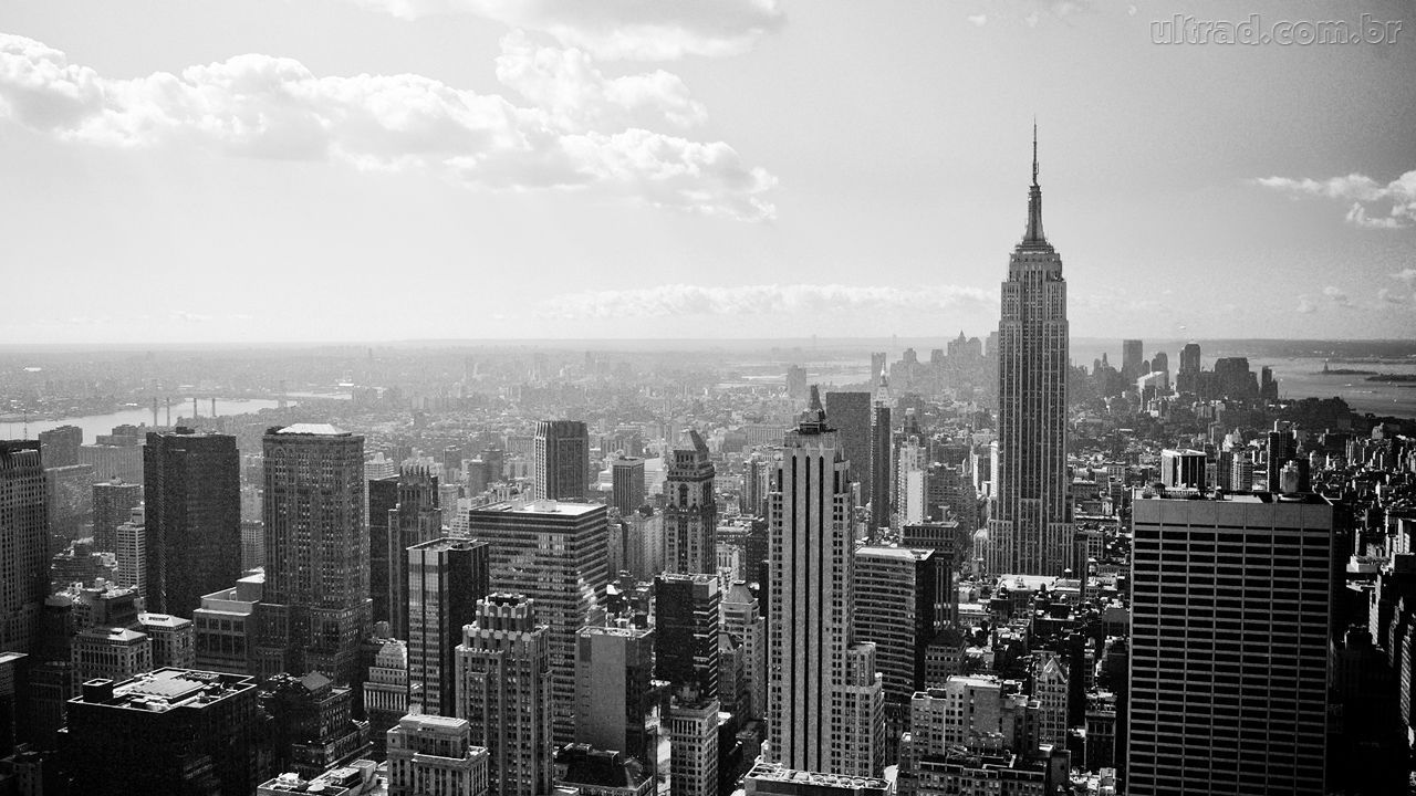 New York City Empire State Building Black And White HD Wallpaper