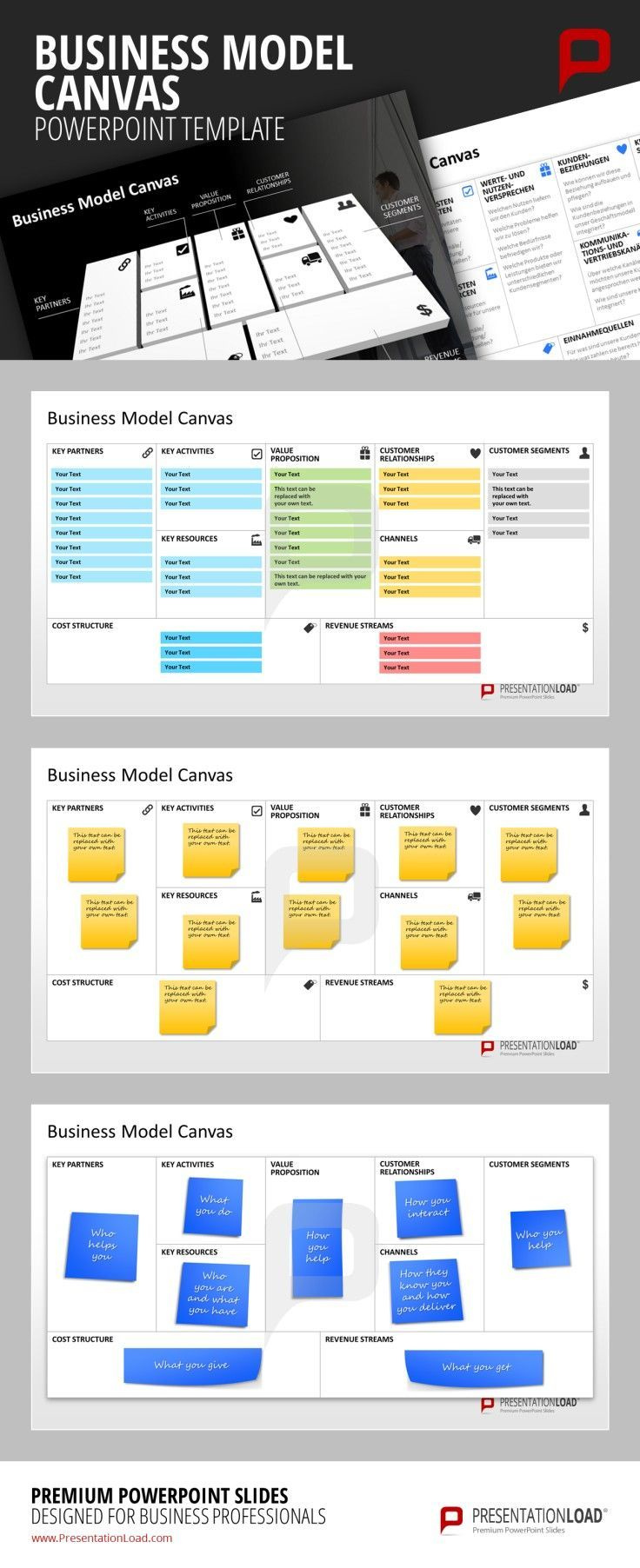 Business model canvas powerpoint template strategically plan and business model canvas powerpoint template strategically plan and present your business model with the business model canvas template set for powerpoint flashek Image collections