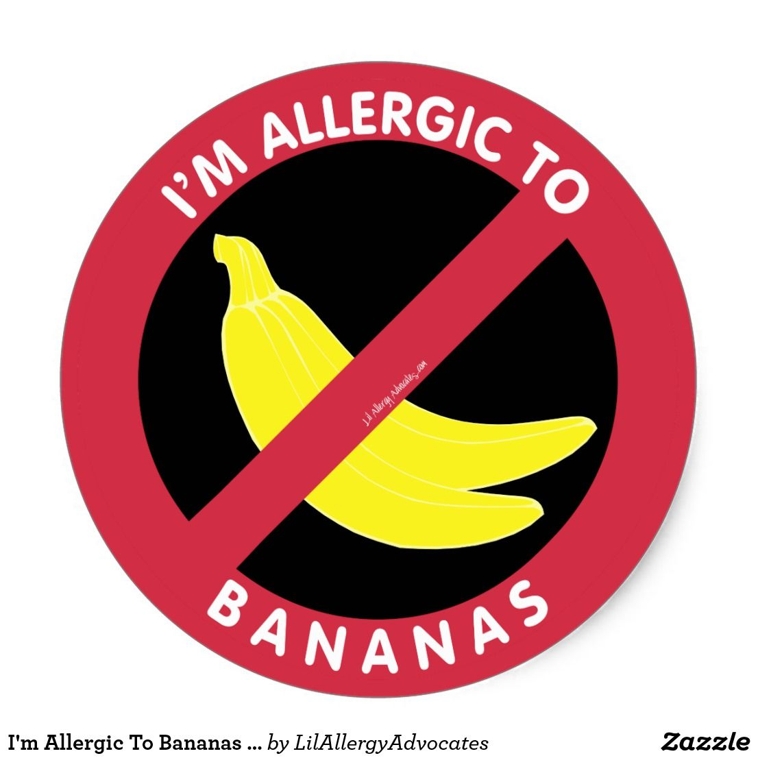Im allergic to bananas allergy symbol kids classic round