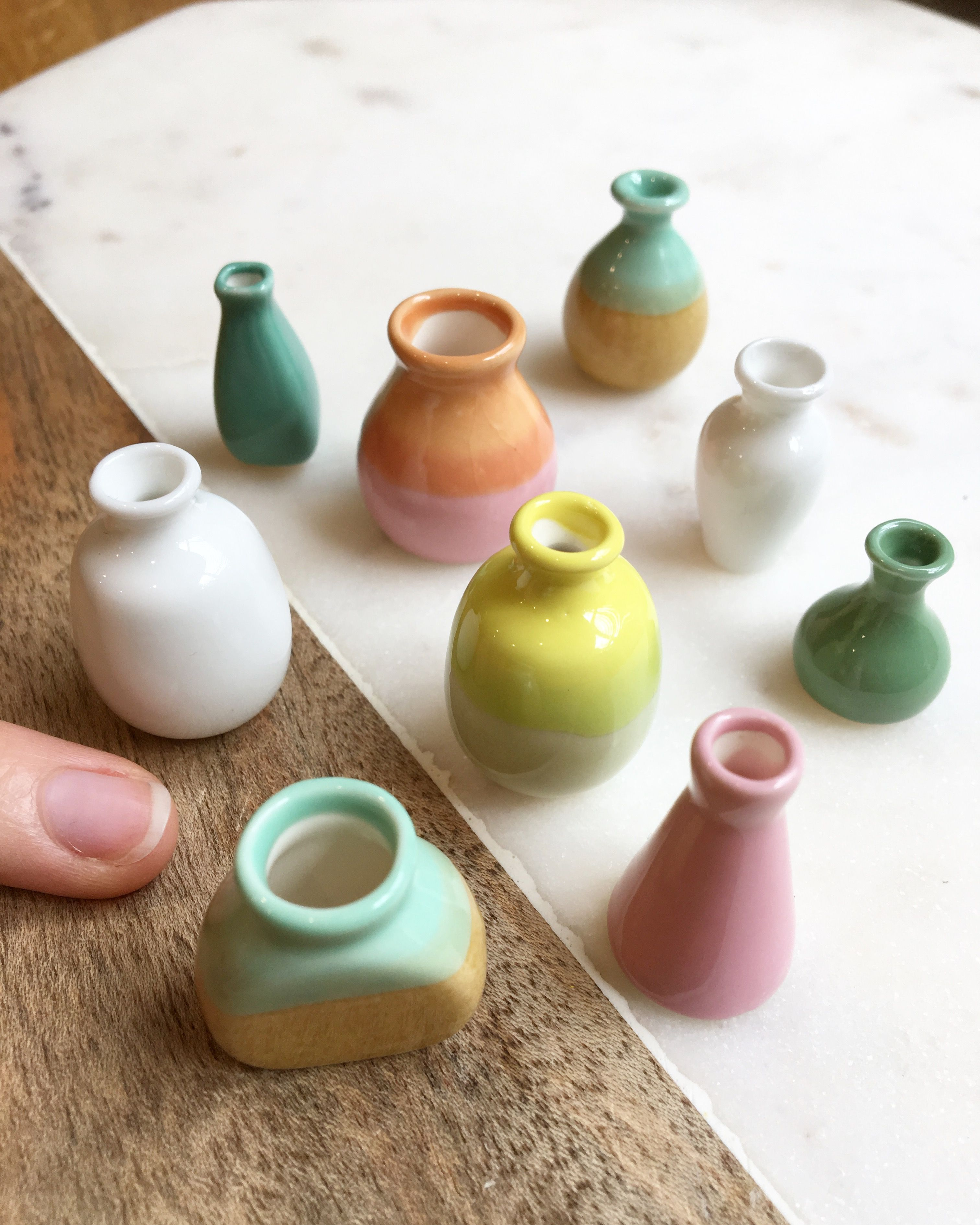 Pin By Tj T On Miniature Co Accessories Miniature Pottery Dollhouse Miniatures Kitchen Mini Vase