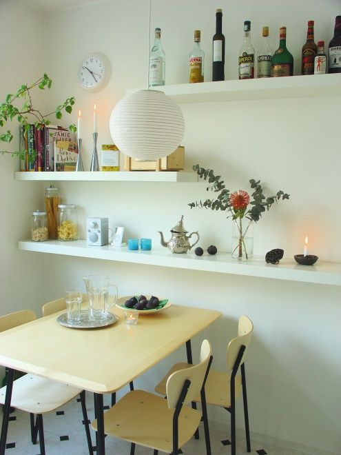another shelving idea for our tiny dinning kitchen area kitchens pinterest k che. Black Bedroom Furniture Sets. Home Design Ideas