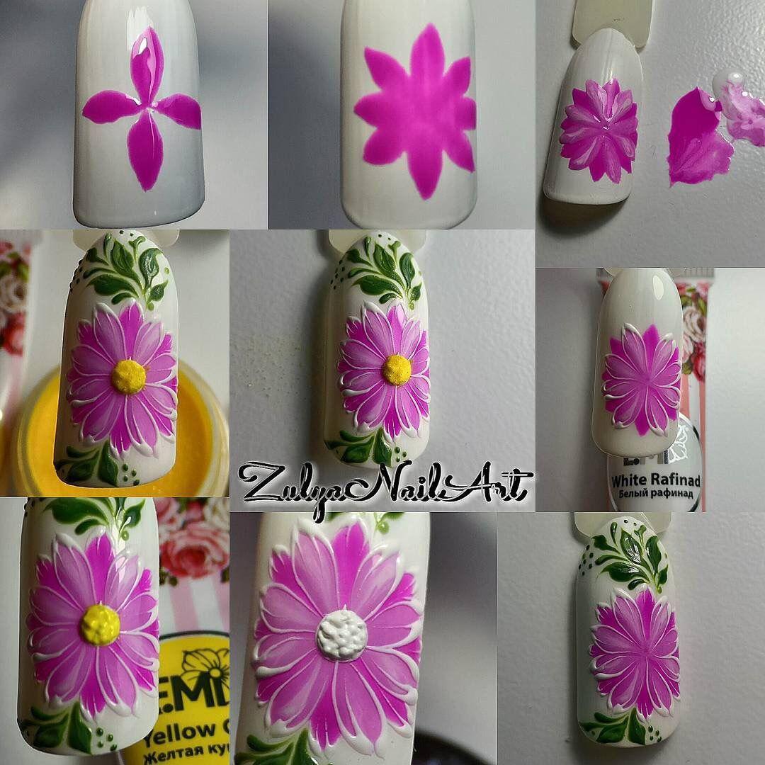 Цветы на ногтях пошагово для начинающих фото