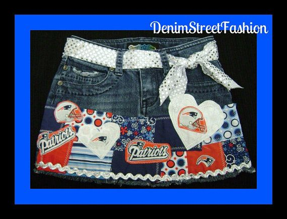 Girls New England Patriots Football Skirt by DenimStreetFashion, $29.99