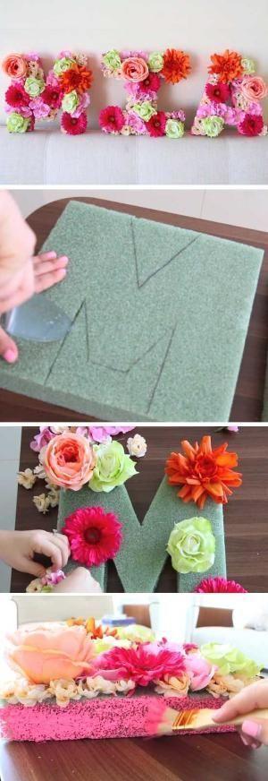 Blumenbuchstaben | DIY Baby Shower Decor Ideen für ein Mädchen von ... - Baby deko #decorationevent