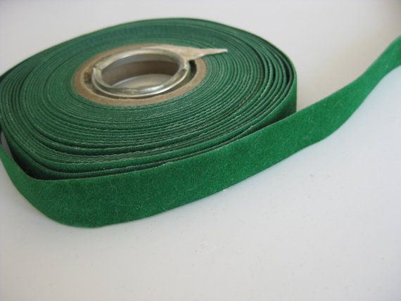 SALE Forest green Velvet ribbon // Green trim // by LanTasticFinds