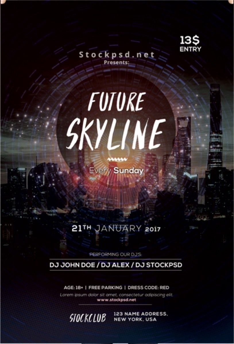 future skyline free event psd flyer template free flyer