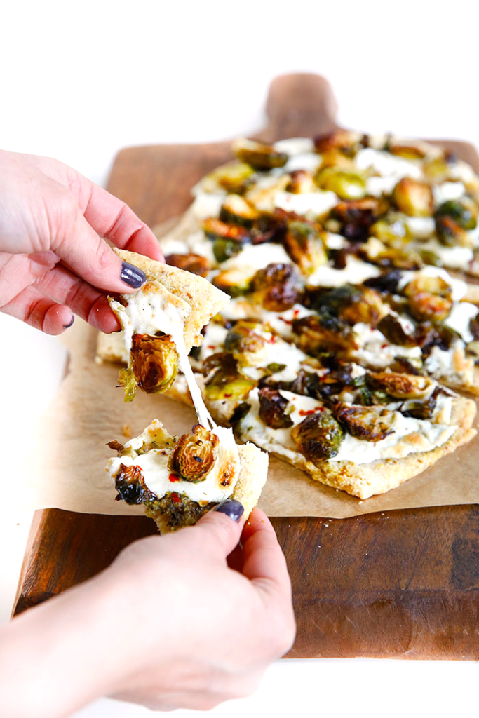 Brussels Sprout Flatbread Pizza (low carb, grain and gluten free)