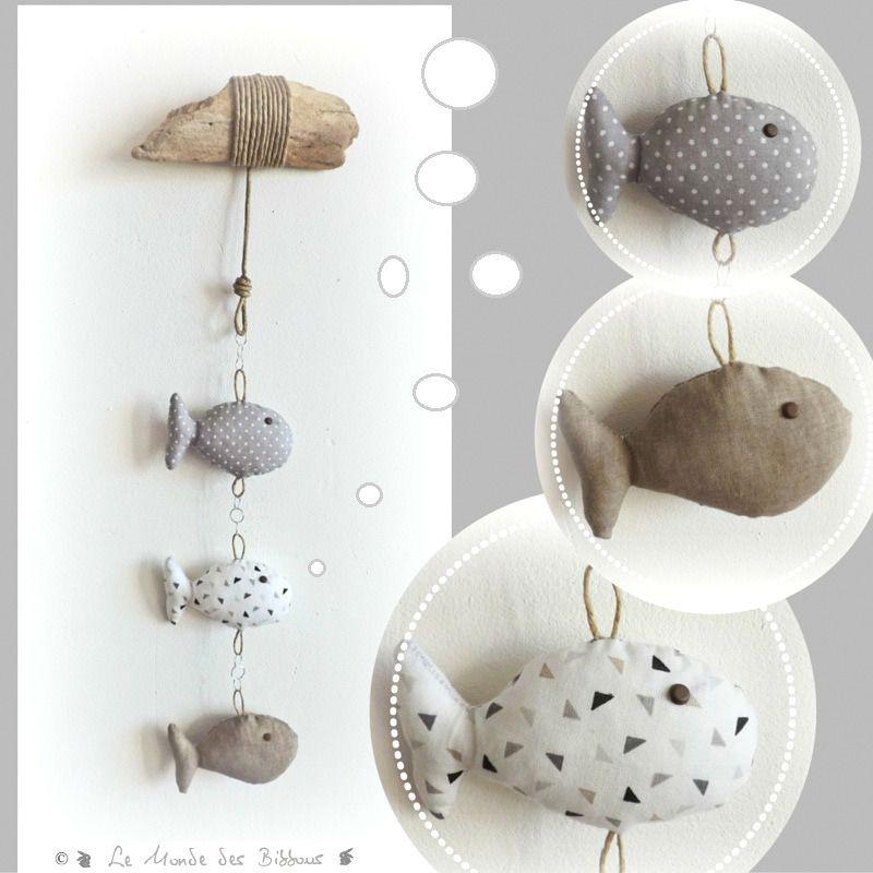 d coration chambre d 39 enfant b b trois poissons tissus. Black Bedroom Furniture Sets. Home Design Ideas