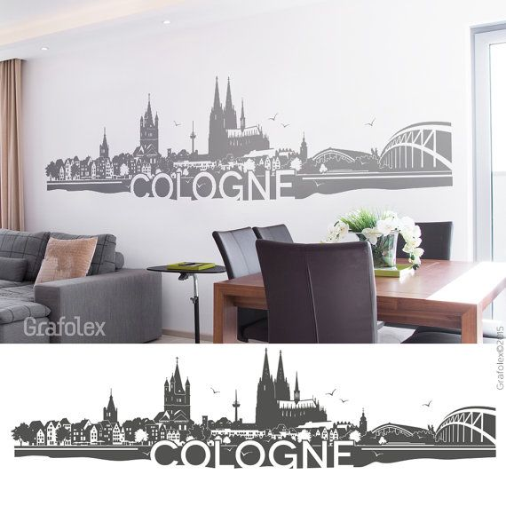 wall decals skyline cologne wall stickers wall stickers mural decal sticker 4 sizes of color. Black Bedroom Furniture Sets. Home Design Ideas