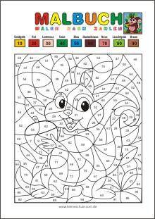 malen nach zahlen - runden auf zehner - matheaufgaben für die 2. klasse mathematik in der