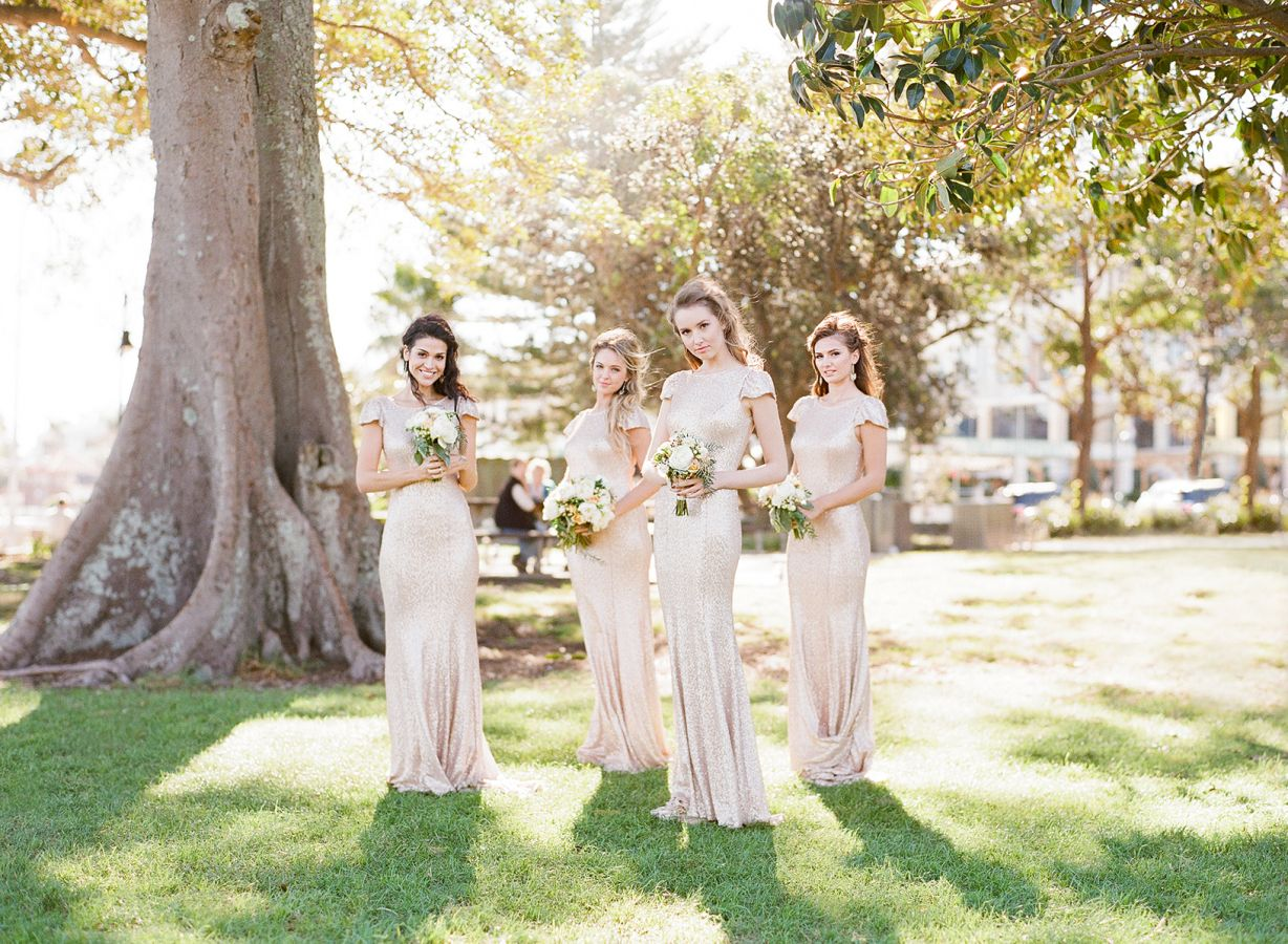Roz la Kelin Wedding Dress & Gold bridesmaid dresses for Seaside Glam wedding
