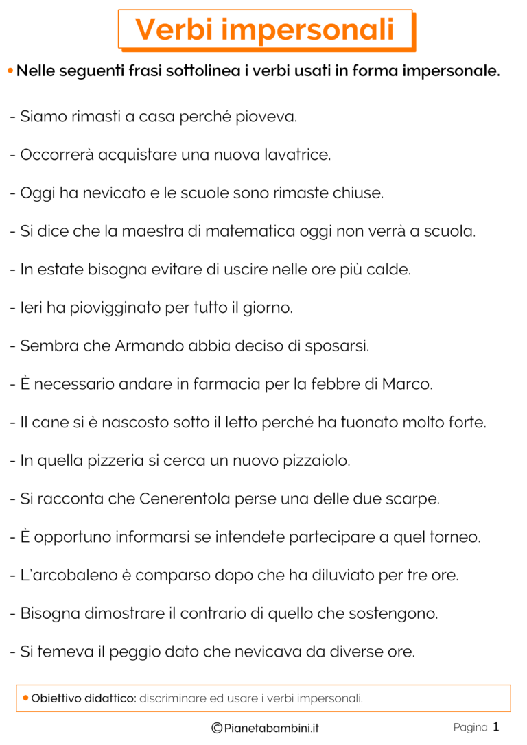Verbi Impersonali Esercizi Per La Scuola Primaria Italiano Grammar