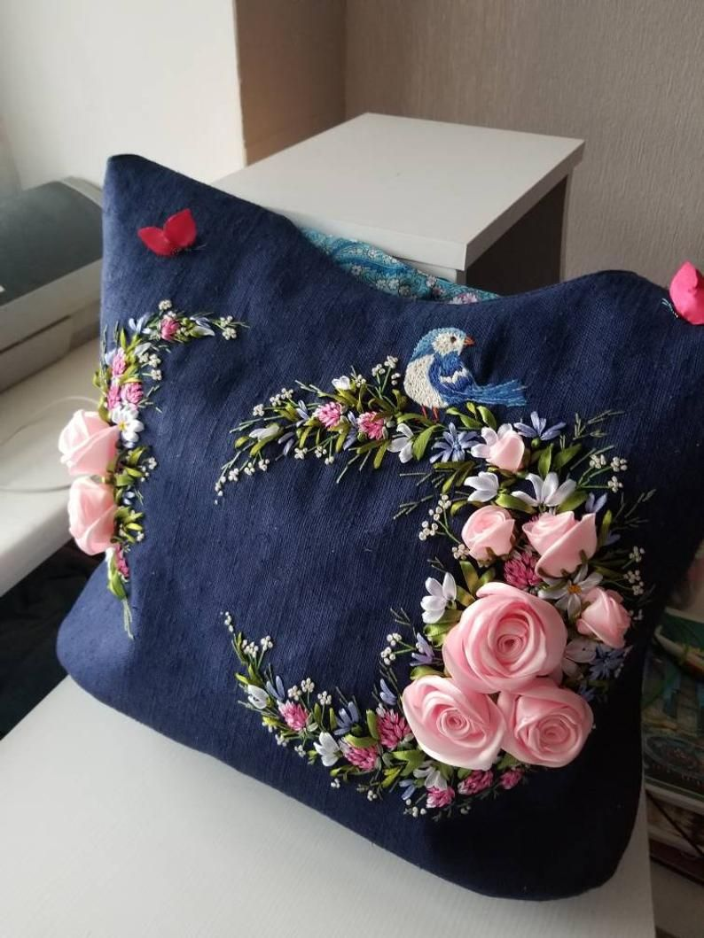 Items similar to Dark blue fairytale backpack,linen backpack,linen bag embroidered ribbons,flowers embroidered backpack,elf super stylish purple backpack on Etsy
