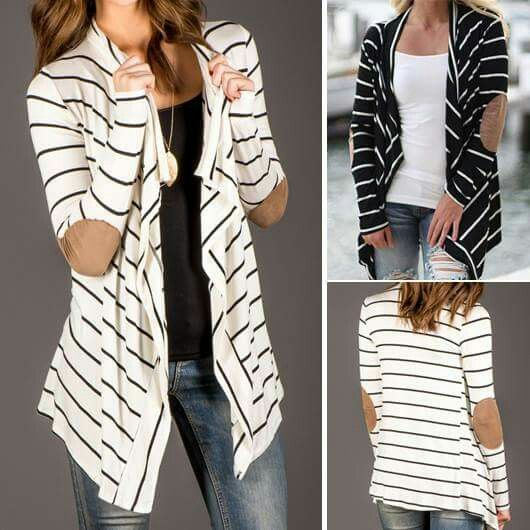 Long striped cardigan with a patch on the elbow