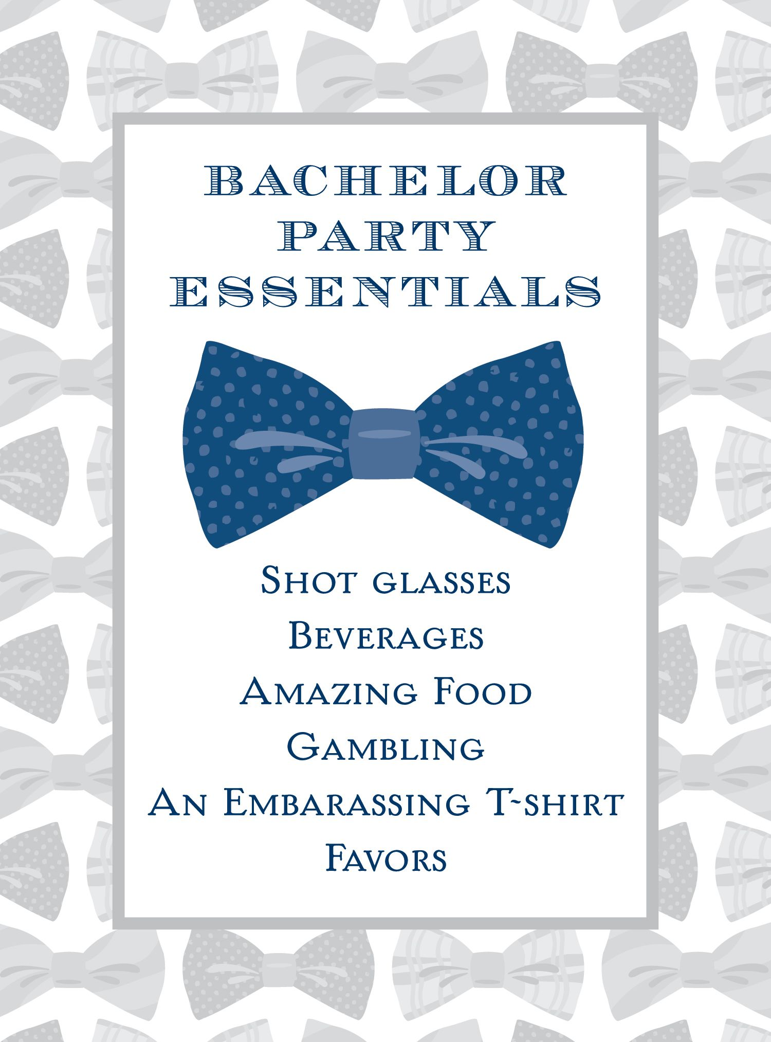 bachelor party essentials. make sure your dude has a successful ...