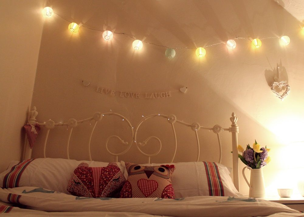 Fairy lights in a bedroom google are always a good idea for Bed decoration with net